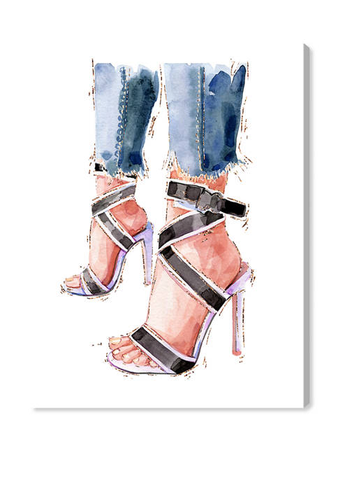 Denim and Summer Shoes Fashion and Glam Wall Art Canvas Print