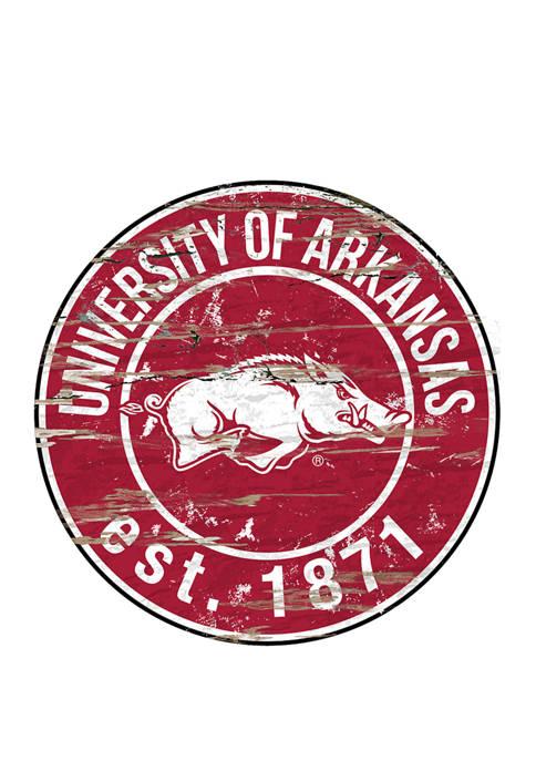 Fan Creations NCAA Arkansas Razorbacks Distressed Round Sign