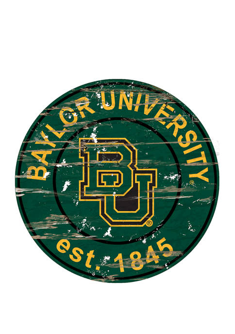 Fan Creations NCAA Baylor Bears Distressed Round Sign