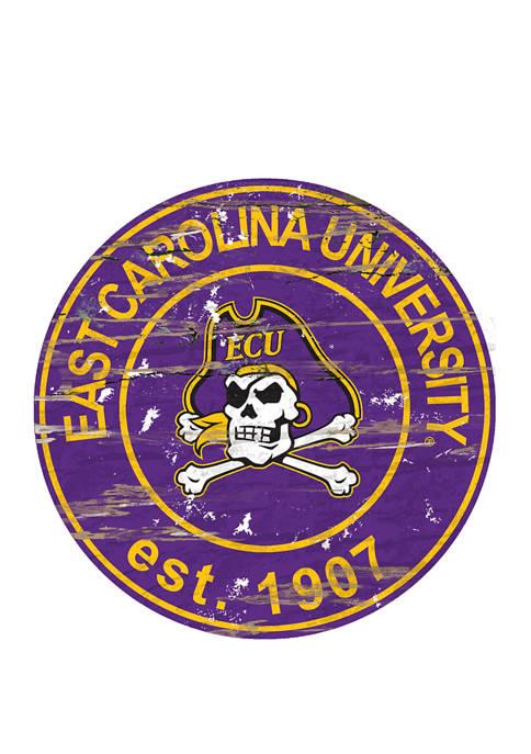 NCAA East Carolina Pirates Distressed Round Sign