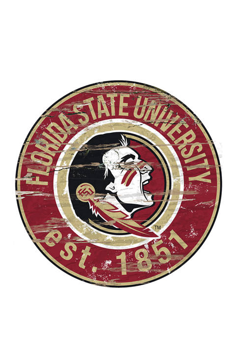 NCAA Florida State Distressed Round Sign