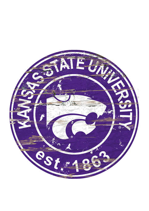 NCAA Kansas State Wildcats Distressed Round Sign