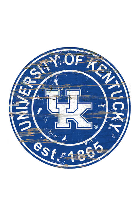 NCAA Kentucky Wildcats Distressed Round Sign