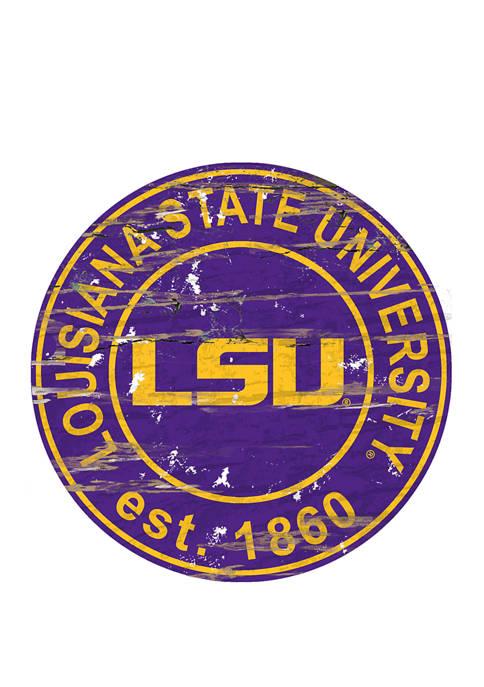 NCAA LSU Tigers Distressed Round Sign