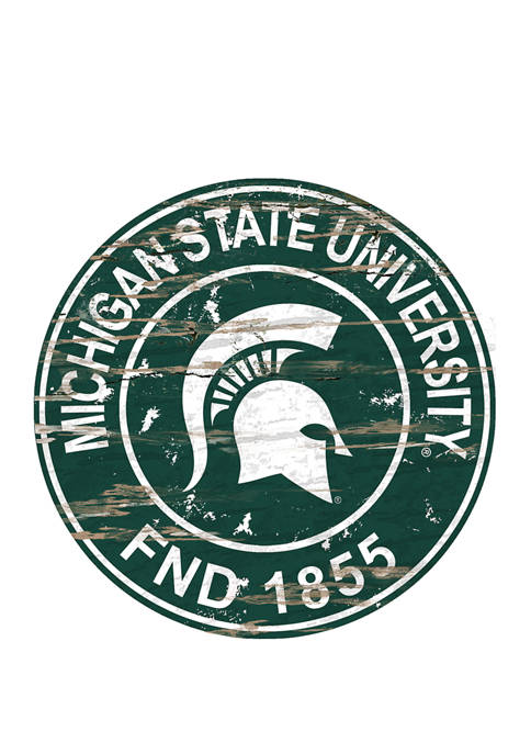 NCAA Michigan State Spartans Distressed Round Sign