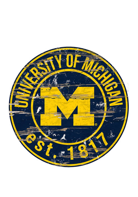 NCAA Michigan Wolverines Distressed Round Sign