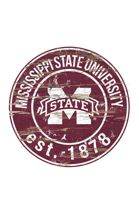 NCAA Mississippi State Bulldogs Distressed Round Sign