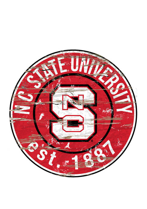 NCAA NC State Wolfpack Distressed Round Sign