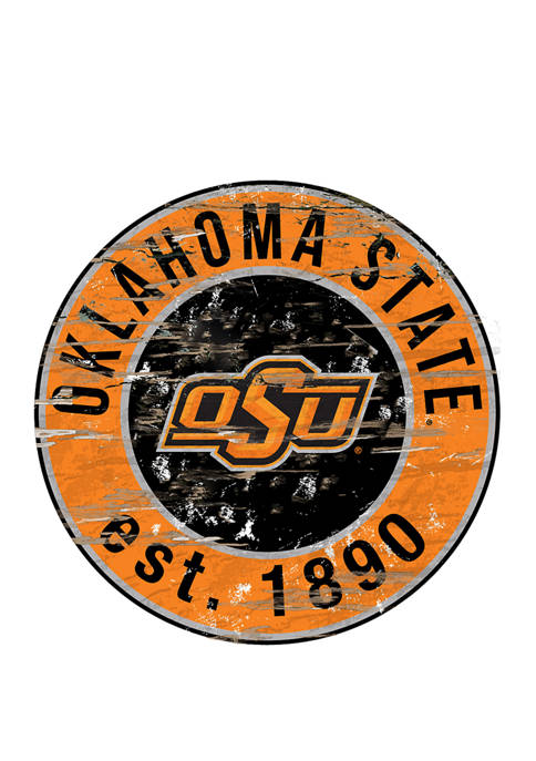 NCAA Oklahoma State Cowboys Distressed Round Sign