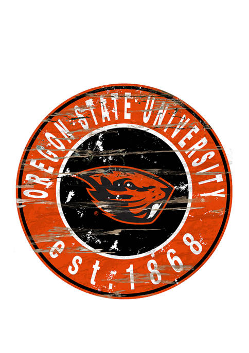 NCAA Oregon State Beavers Distressed Round Sign