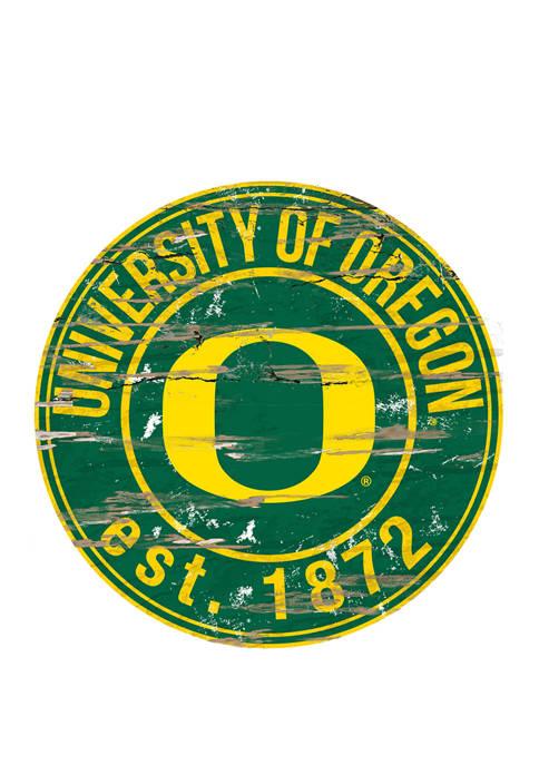 NCAA Oregon Ducks Distressed Round Sign