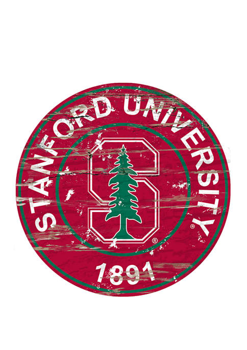 NCAA Stanford Cardinals Distressed Round Sign
