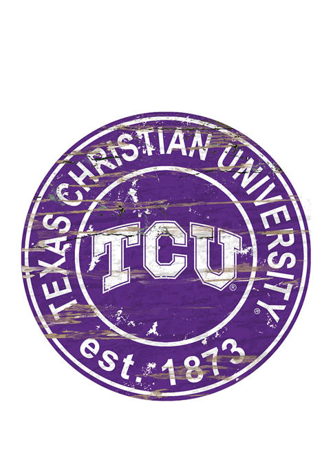 NCAA TCU Horned Frogs Distressed Round Sign