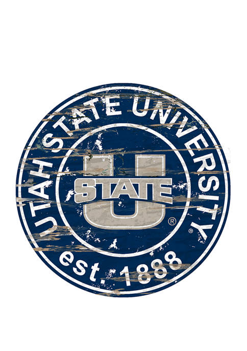 NCAA Utah State Aggies Distressed Round Sign