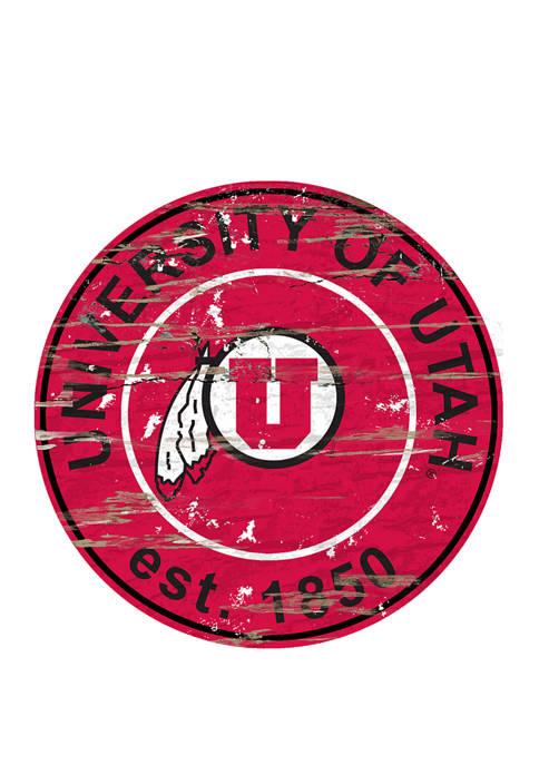 NCAA Utah Utes Distressed Round Sign
