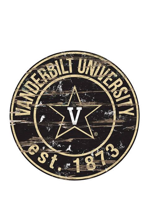 NCAA Vanderbilt University Commodores Distressed Round Sign