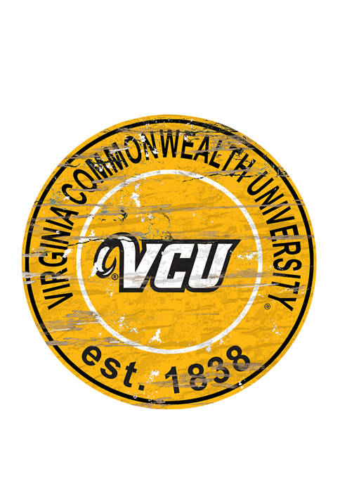 NCAA VCU Rams Distressed Round Sign