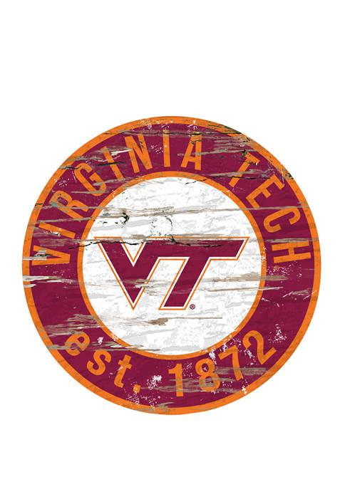 NCAA Virginia Tech Hokies University Distressed Round Sign