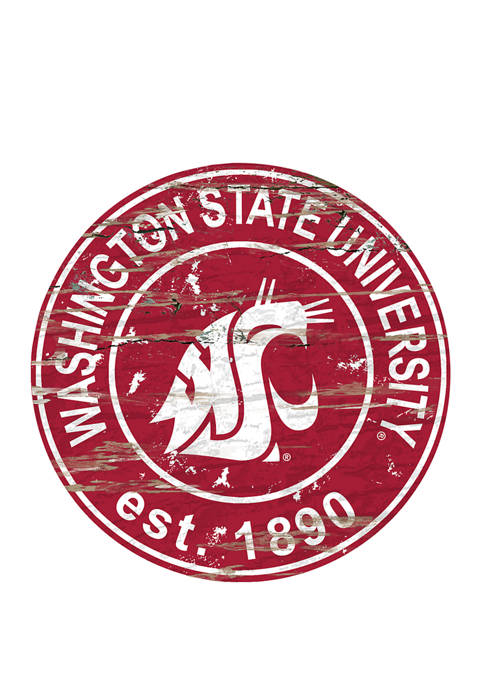 NCAA Washington State Cougars Distressed Round Sign
