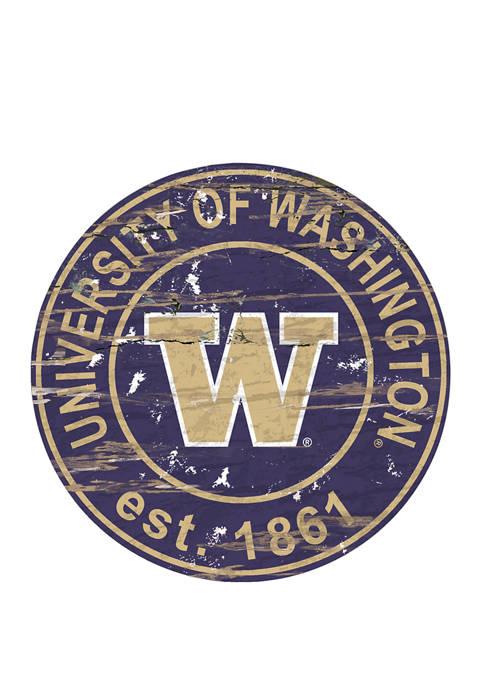 NCAA Washington Huskies  Distressed Round Sign