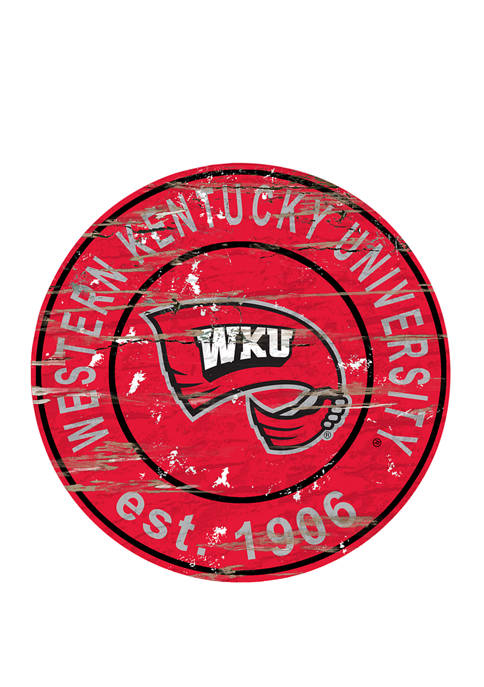 NCAA Western Kentucky Hilltoppers Distressed Round Sign