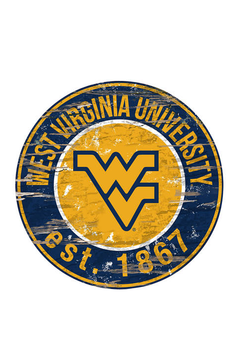 NCAA University of West Virginia Mountaineers Distressed Round Sign