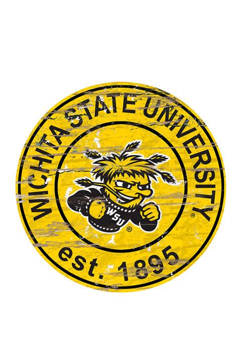 NCAA Wichita State Shockers Distressed Round Sign