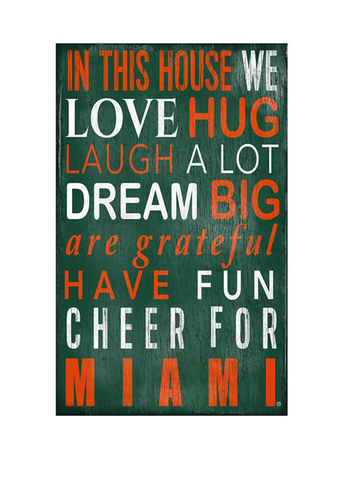 NCAA University of Miami Hurricans In This House Sign