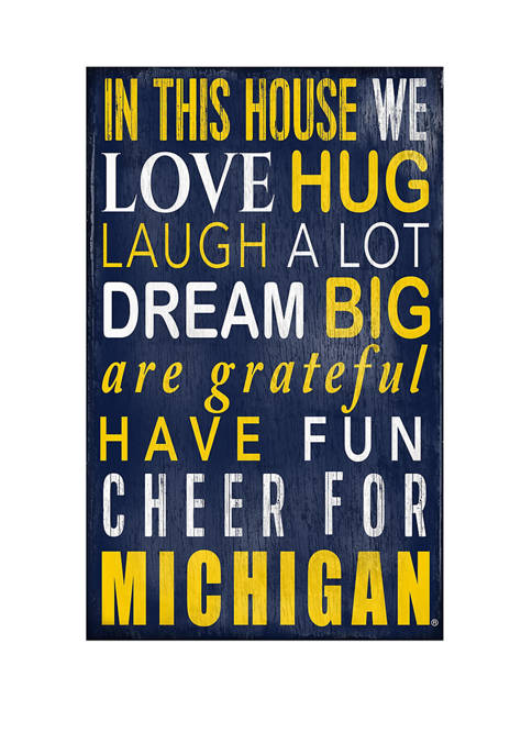 NCAA University of Michigan Wolverines In This House Sign