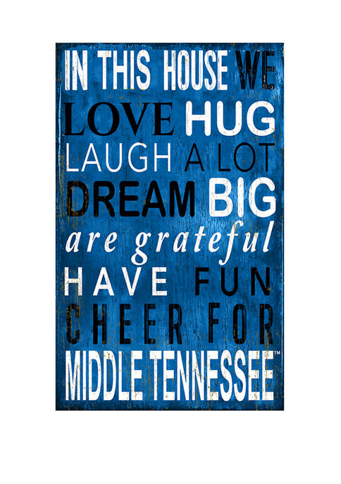 NCAA MTSU Bobcats In This House Sign