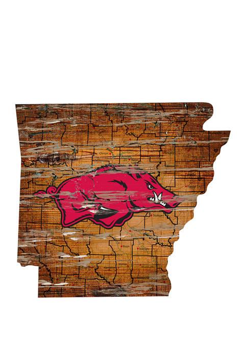 NCAA University of Arkansas Razorbacks Distressed State with Logo