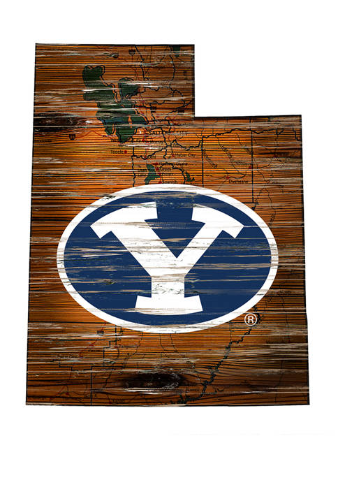 NCAA Brigham Young University Cougars Distressed State with Logo