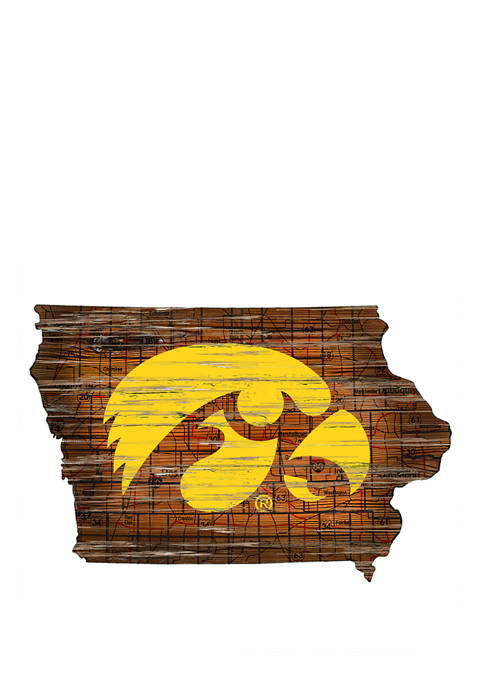 NCAA Iowa Hawkeyes Distressed State with Logo