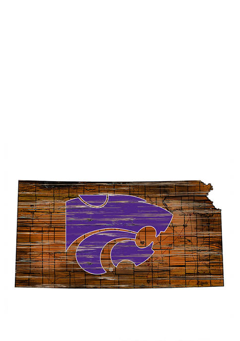 NCAA Kansas State Wildcats Distressed State with Logo