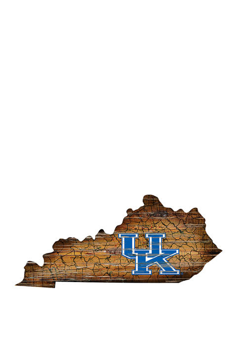 NCAA Kentucky Wildcats 24 in x 24 in Distressed State Sign with Logo