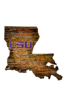 Fan Creations Ncaa Louisiana State University Tigers Distressed State With Logo