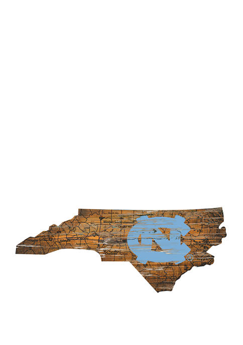 NCAA North Carolina Tar Heels 24 in x 24 in Distressed State Sign with Logo