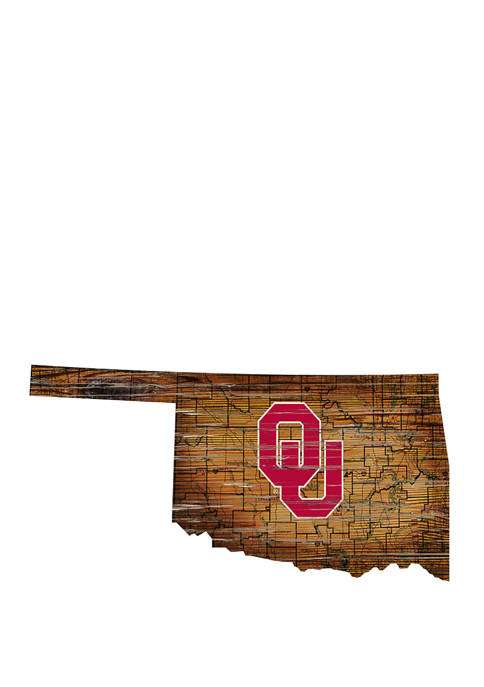 NCAA University of Oklahoma Sooners Distressed State with Logo