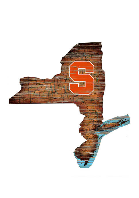 NCAA Syracuse Orange 24 in x 24 in Distressed State Sign with Logo