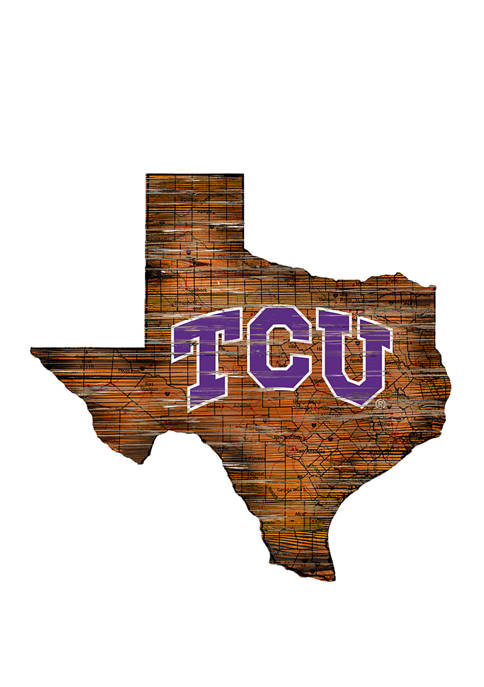 NCAA TCU Horned Frogs Distressed State with Logo