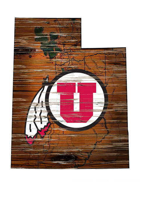 NCAA Utah Utes 24 in x 24 in Distressed State Sign with Logo