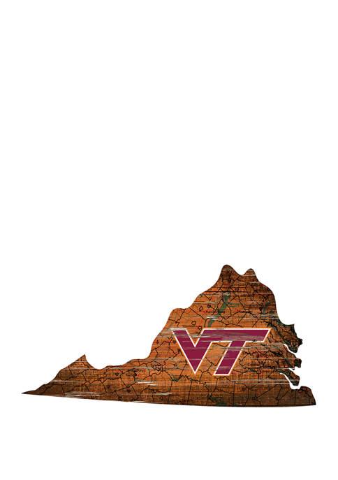 NCAA Virginia Tech Hokies Distressed State with Logo