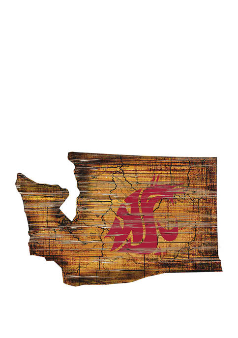 NCAA Washington State Cougars Distressed State with Logo