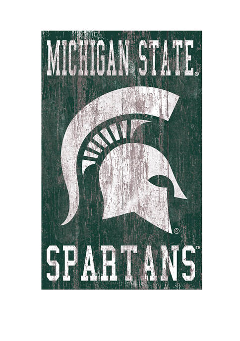 NCAA Michigan State Spartans 11 in x 20 in Heritage Distressed Logo