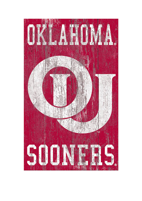 NCAA University of Oklahoma Sooners 11 in x 19 in Distressed Heritage Logo