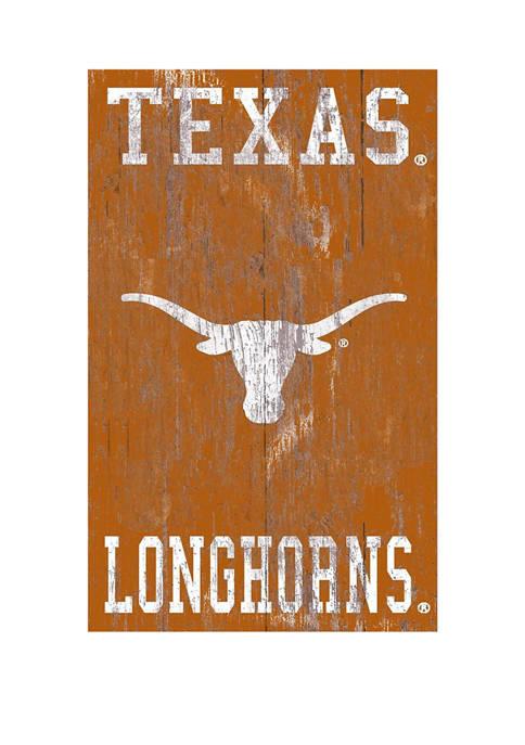 NCAA University of Texas Longhorns 11 in x 19 in Distressed Heritage Logo