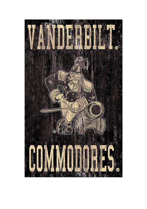 NCAA Vanderbilt University Commodores 11 in x 19 in Distressed Heritage Logo