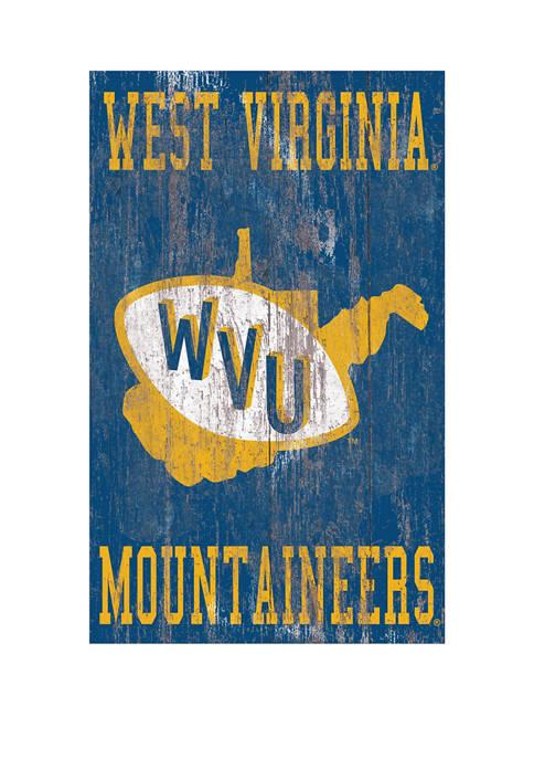 NCAA University of West Virginia Mountaineers 11 in x 19 in Distressed Heritage Logo