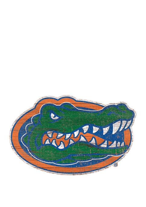NCAA University of Florida Gators Distressed Logo Cutout Sign