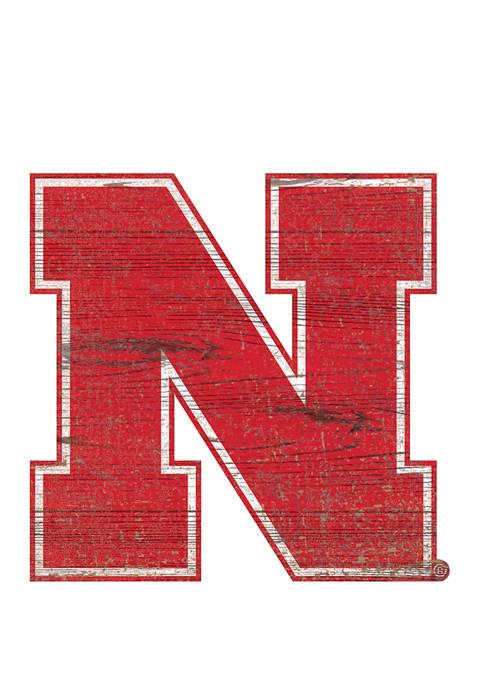 NCAA University of Nebraska Cornhuskers Distressed Logo Cutout Sign